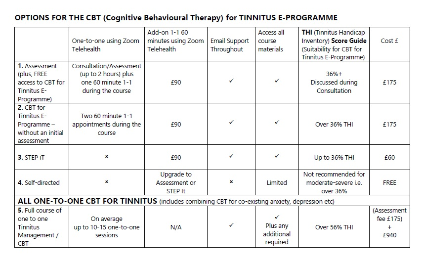 Options for CBT for Tinnitus E-Programme